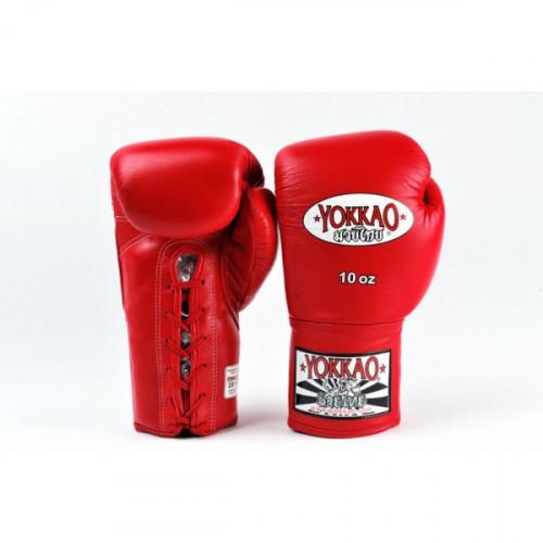 Productafbeelding voor 'Yokkao bokshandschoen competitie leer met veters rood'